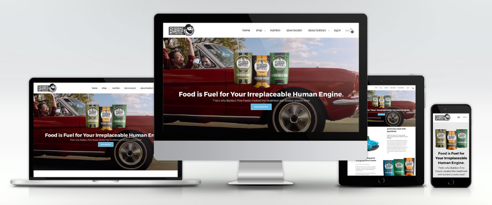 Bubba's Gourmet Foods Website on Four Devices